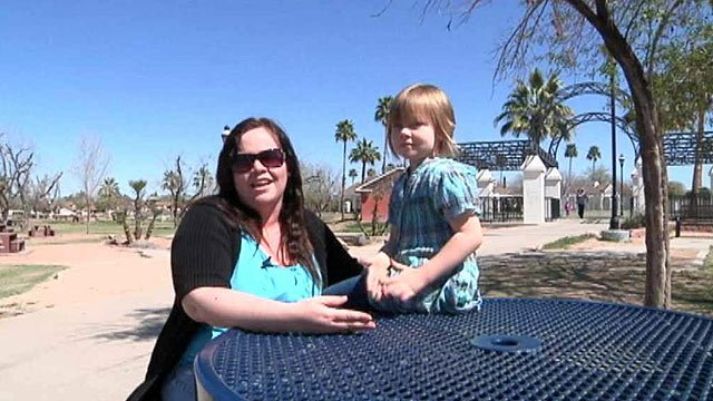 A Glendale school admits it dropped the ball after administrators at Park Meadows Elementary lost track of this first-grader, Myleigh Burchett, shown with her mother, Brandi. (Source: CBS 5 News)