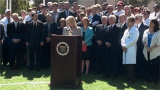 Arizona Gov. Jan Brewer on Tuesday (Source: Christina Batson, cbs5az.com)