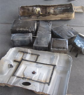 Seven boxes containing marijuana were found hidden in two fuel tanks. (Source: U.S. Customs and Border Protection)