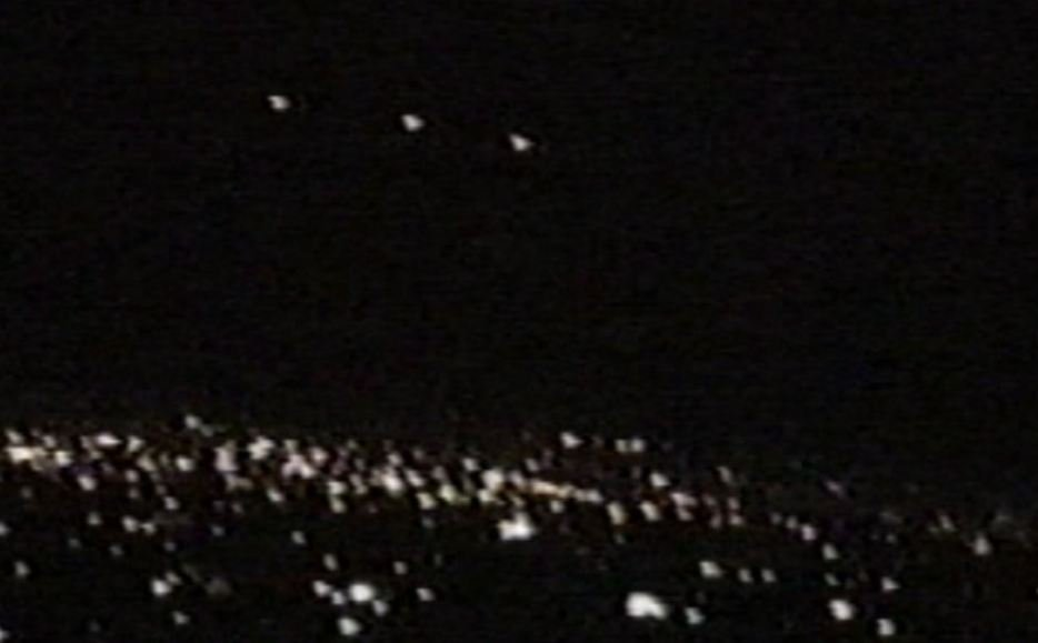 A still image taken from home video from the 'Phoenix Lights' event March 13, 1997.