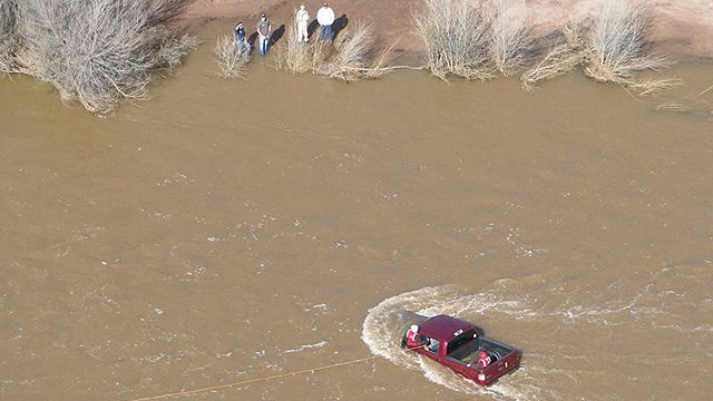 The couple had driven their pickup truck into a swollen creek near Punkin Center in the Tonto National Forest. (Source: Arizona Department of Public Safety)