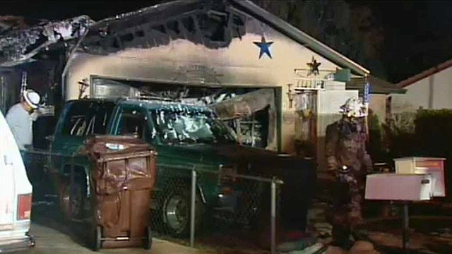 Firefighters said a mother, father and their child got out safely before the fire grew in intensity and destroyed this Peoria home. (Source: CBS 5 News)