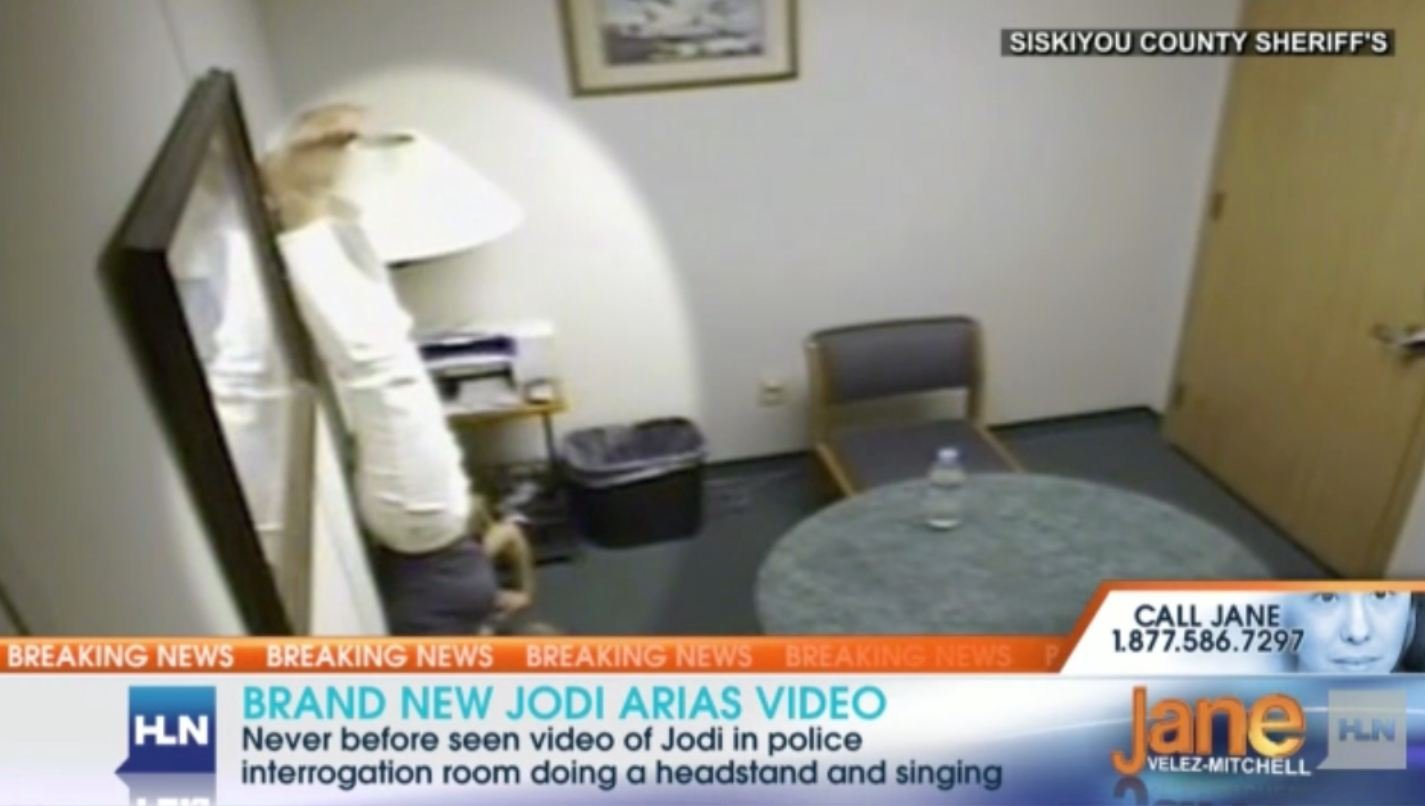 Interrogation video from HLN shows Arias doing a headstand.