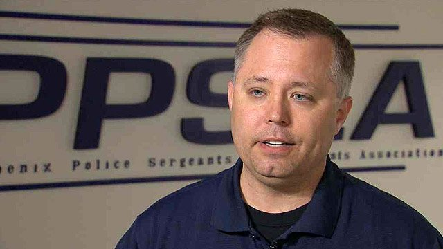 "Sgt. Sean Mattson, the president of Phoenix Police Sergeants and Lieutenants Association, says a change in shifts is ""disheartening, demoralizing."" (Source: CBS 5 News)"