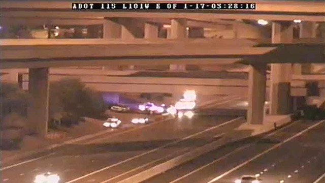 A fatal motorcycle crash and an unrelated suicide forced the closure of southbound Interstate 17 on Tuesday morning. (Source: CBS 5 News)