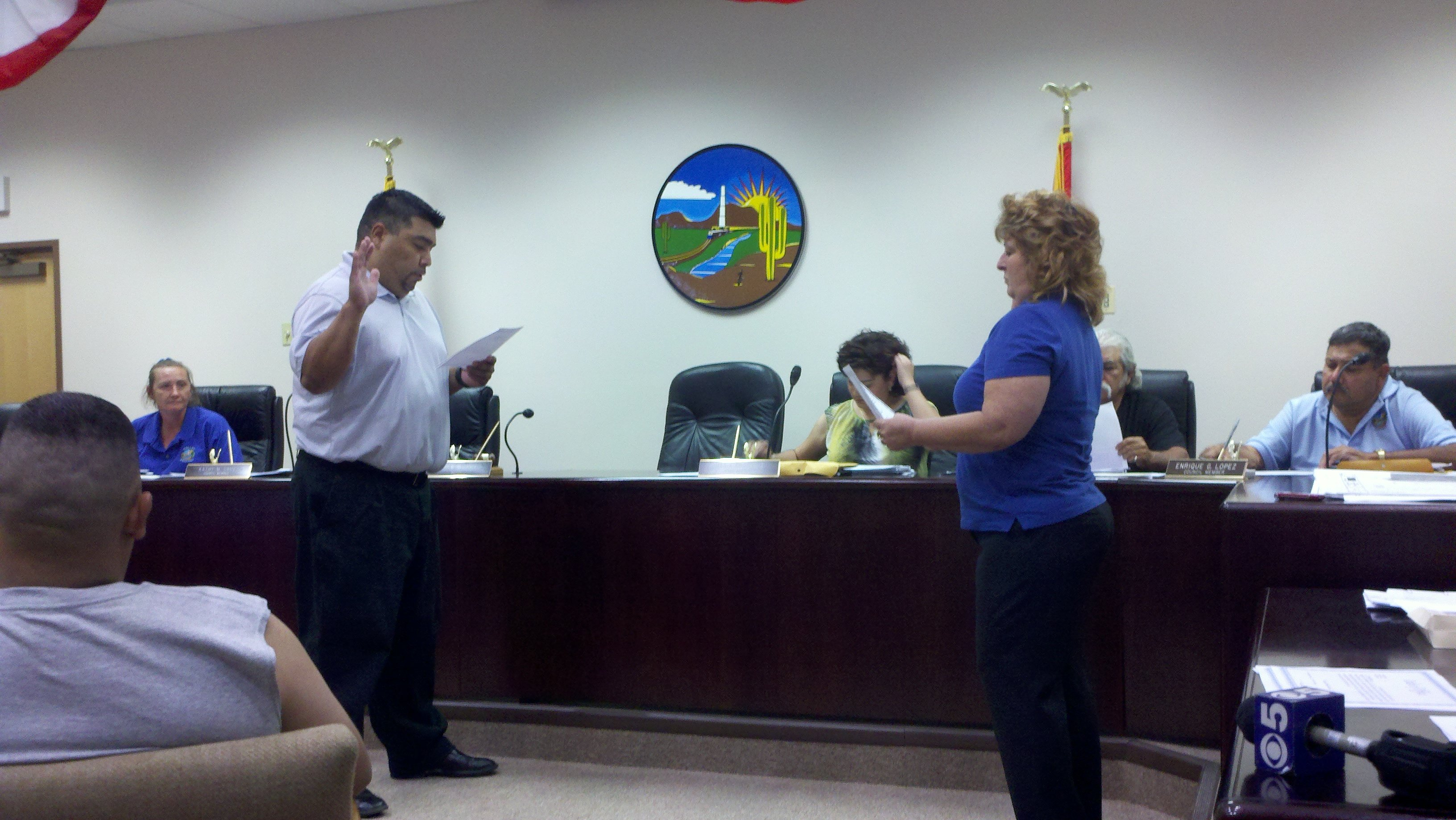 Charles Vega getting sworn in as mayor
