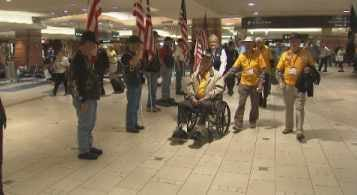 Veterans from all branches of war and military battles boarded an honor flight from Phoenix to Baltimore on Tuesday morning