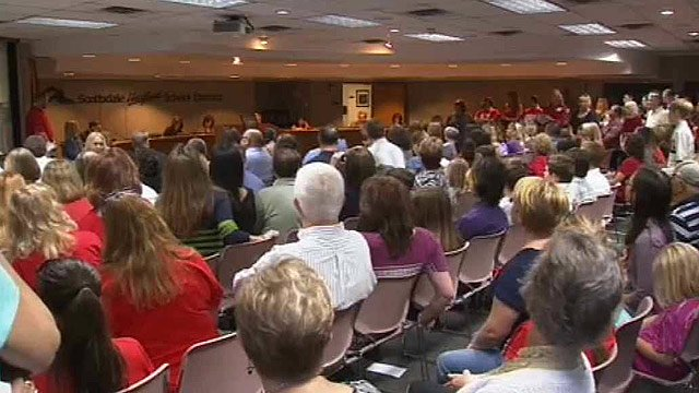 The Scottsdale Unified School District faces a $9.7 million budget deficit, but parents and teachers were saying no cuts should be made to classrooms or teachers. (Source: CBS 5 News)