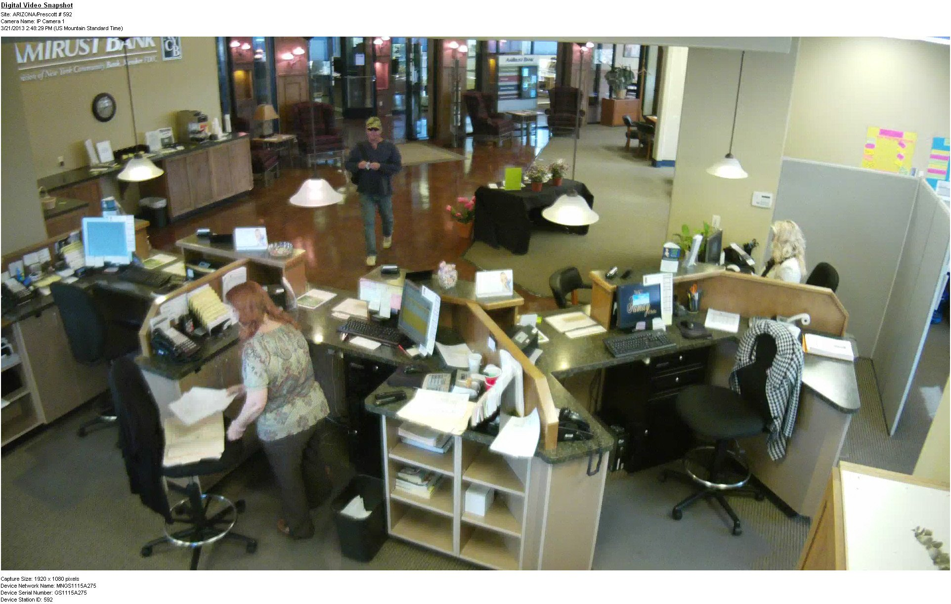 Bank surveillance photo of the robbery. (Source: Prescott Police Department)
