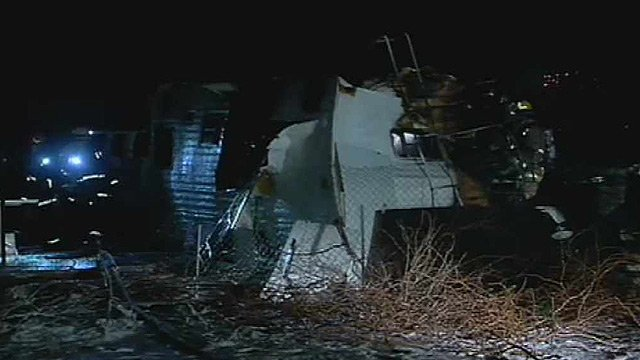 The mobile home near 51st and Southern avenues was engulfed by flames and was a total loss. (Source: CBS 5 News)