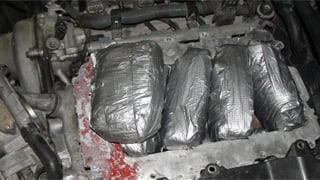 Meth found in hidden engine compartment. (Source: U.S. Customs and Border Protection)