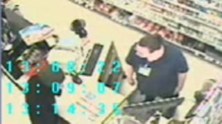 The suspect approached the clerk and demands money from the register. (Source: Mesa Police Department)