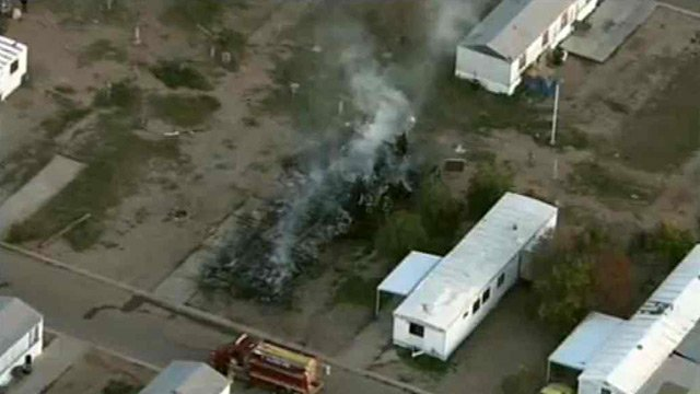 Fire destroyed this mobile home in Casa Grande on Friday morning. (Source: CBS 5 News)