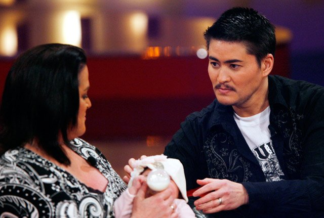 Thomas Beatie, his wife Nancy and daughter Susan Juliette in a German TV studio in 2008. (AP Photo/Hermann J. Knippertz)