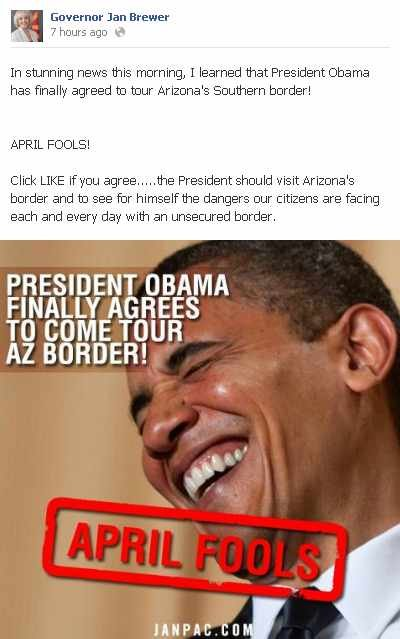 Gov. Brewer's 'April Fools' joke about Obama   CBS 5   KPHO