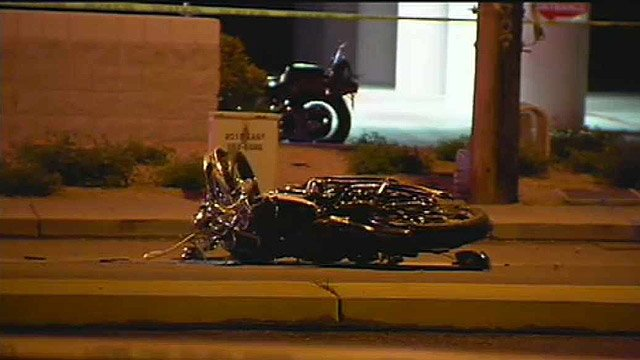 The motorcyclist suffered fatal injuries after he struck a curb near the intersection of Cactus and Cave Creek roads and fell from his motorcycle. (Source: CBS 5 News)