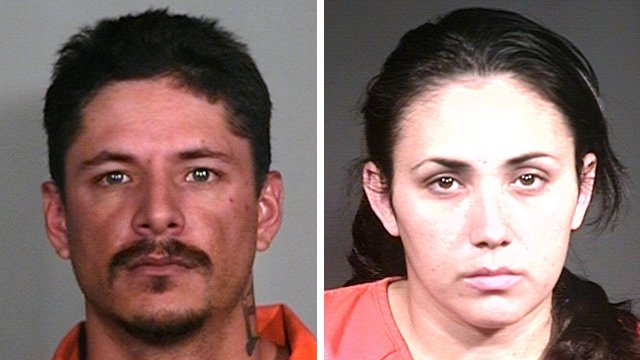Kyron Grow, left, and Marcelina Rich were arrested and booked into jail in connection with the death of Rich's 3-year-old son on March 26. (Source: Gila County Sheriff's Office)