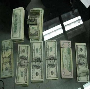 (Source: U.S. Customs and Border Protection) Money seized during border check.
