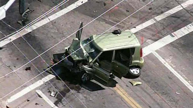 This is one of three vehicles involved in a fatal crash at McKellips and Ellsworth roads Wednesday morning. (Source: CBS 5 News)
