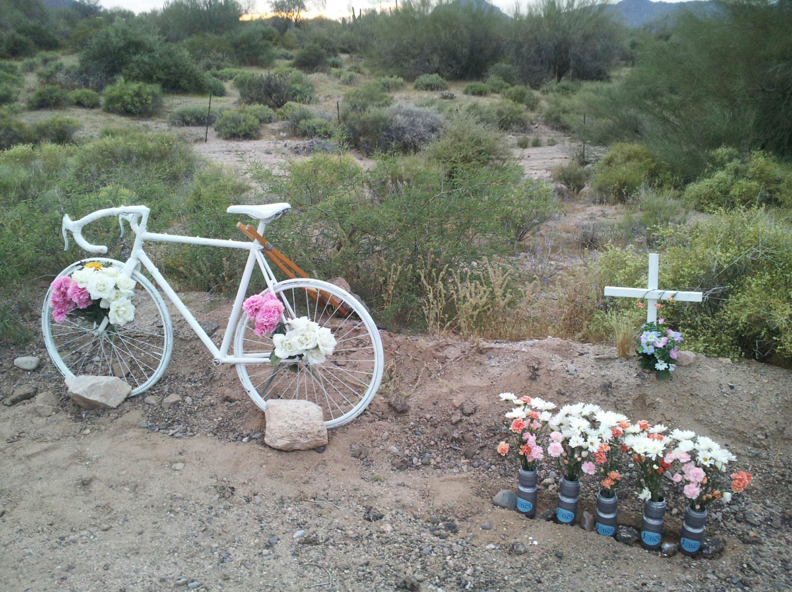 A memorial was set up for Clare Kirby at the crash location (Source: CBS 5 News)