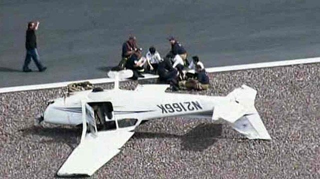 Three people escaped injury when their plane flipped during  a landing at Deer Valley Airport on Thursday morning. (Source: CBS 5 News)