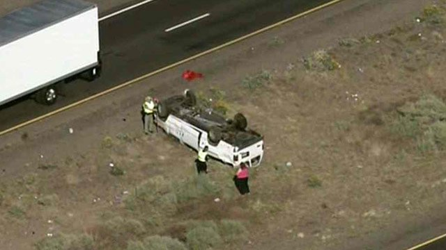 Nine Corrections officers were hurt when this van rolled April 5 on the Gila River Indian Reservations. (Source: CBS 5 News)