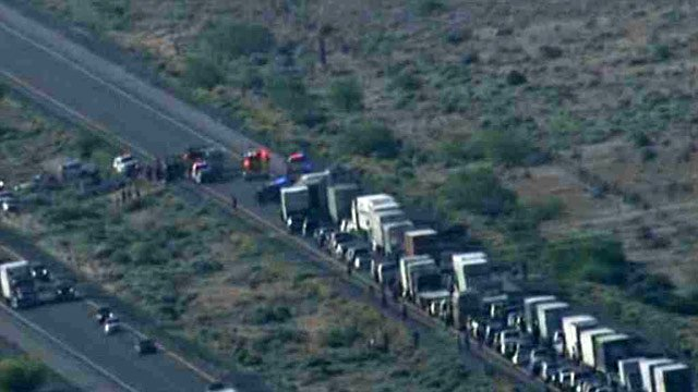 Both eastbound and one westbound lane were blocked. (Source: CBS 5 News)