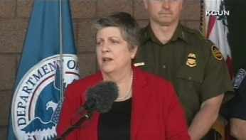 Homeland Security Secretary Janet Napolitano at news conference Friday in Tucson. (Source: KGUN)