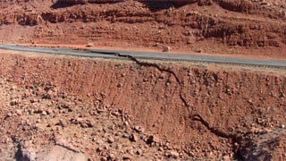 A 150-foot section buckled and sank four feet. (Source: ADOT)