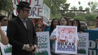 Protest rally outside ICE office in Phoenix (Source: KPHO-TV)