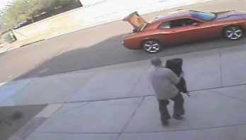 Home surveillance video shows burglar falling. (Source: Phoenix Police Department)