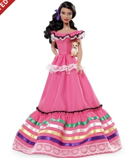 "Mexico Barbie from Mattel's ""Dolls of the World"" collection. (Source: Mattel)"