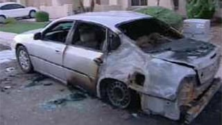 One of the vehicles set on fire on Sept. 13, 2012. (Source: Chandler Police Department)