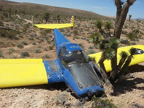 The pilot of a single-engine airplane was forced to land his plane in the desert about two miles north of the Nevada-Arizona border Sunday morning after it lost its propeller. (Source: Mohave County Sheriff's Office)