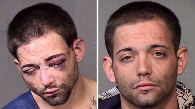 Anthony Brian Giunta in his booking photo Monday night, left, and in a previous booking photo. (Source: Maricopa County Sheriff's Office)