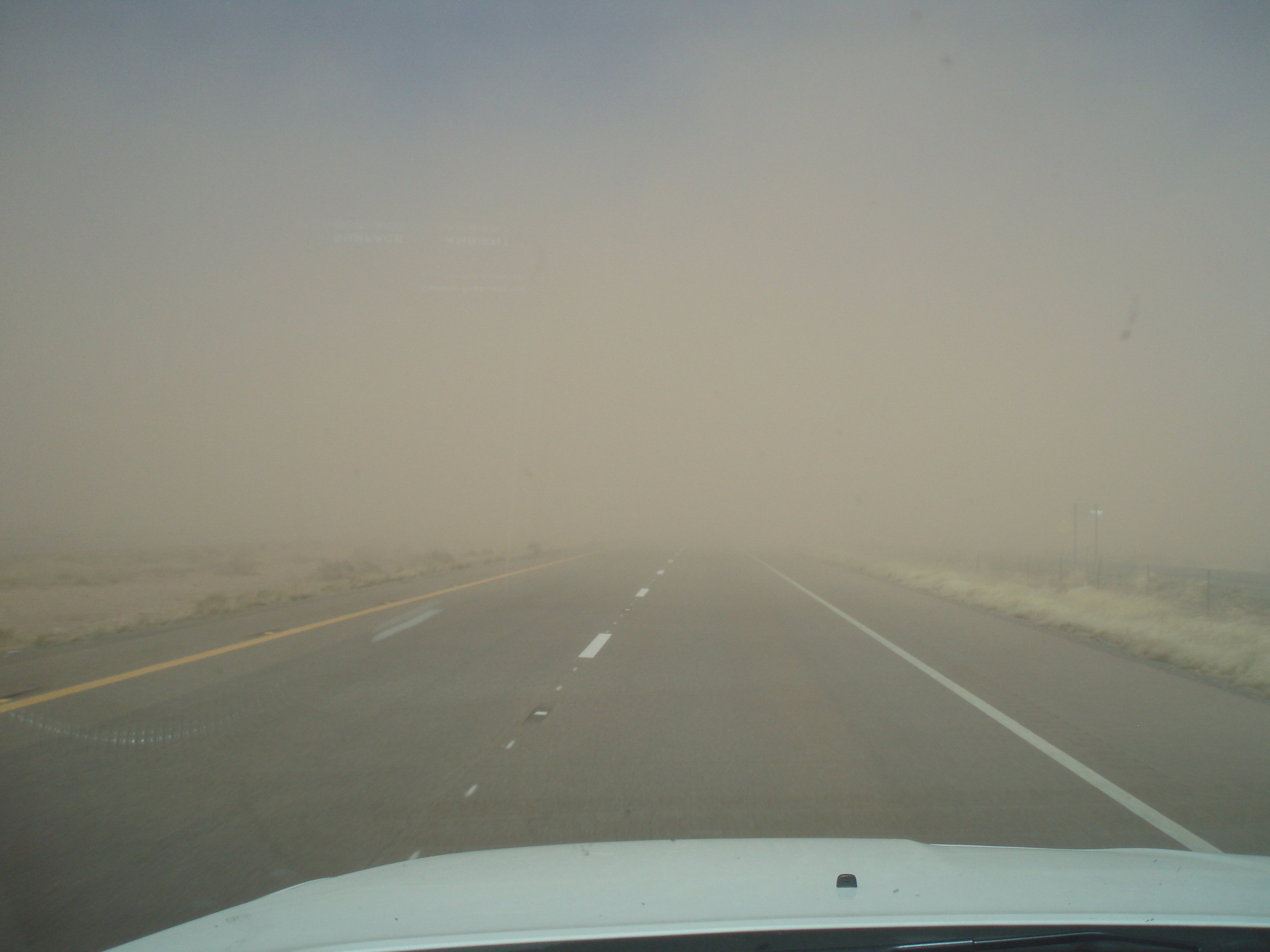 Blowing dust on Interstate 40 on Tuesday morning (Source: ADOT)
