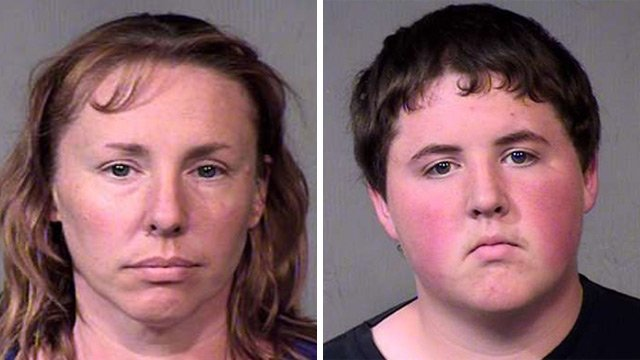Michelle Gibson, left, and her son Steve Gibson Jr., are accused of orchestrating a plot to have 39-year-old Steven Gibson killed. (Source: Maricopa County Sheriff's Office)