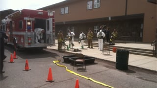 Two separate chemicals were accidentally combined in a container. (Source: Flagstaff Fire Department)