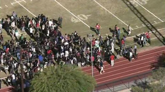 Students were taken to the school's athletic fields. (Source: CBS 5 News)
