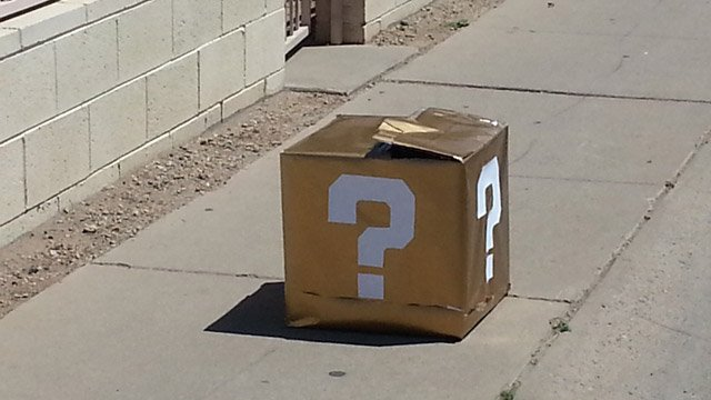 This is the package that drew the interest of Tempe bomb technicians. (Source: CBS 5 News)