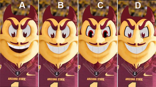 Four versions of the Sparky head up for election. (Source: Arizona State University)