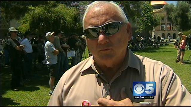 Russell Pearce at Saturday's rally. (Source: KPHO-TV)