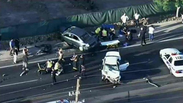Five people were hurt in this violent two-car crash Monday morning. (Source: CBS 5 News)