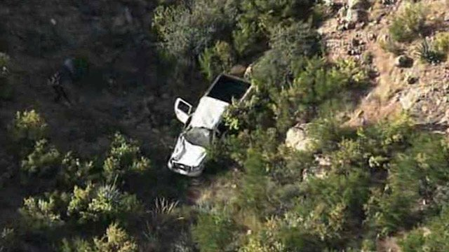 Four people were in this pickup when it went off the road and down a cliff near Roosevelt Lake on Tuesday morning. (Source: CBS 5 News)