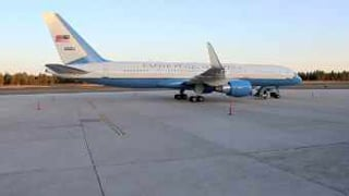 Air Force 2 stranded at Flagstaff Airport.