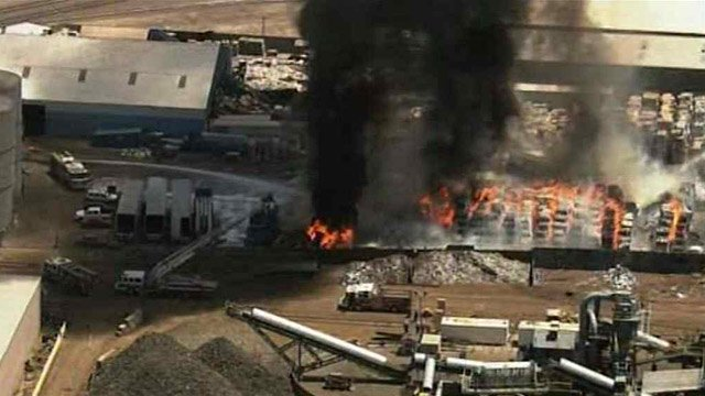 A fire broke out at a Phoenix paper recycling plant just before noon Tuesday. (Source: CBS 5 News)