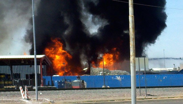 A fire broke out at a Phoenix paper recycling plant just before noon Tuesday. (Source: Viewer-submitted photo)