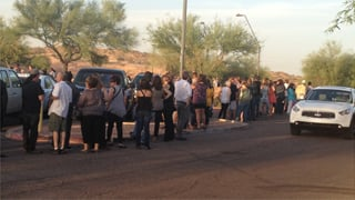 Line outside the theater late Tuesday. (Source: Allyson Blair, cbs5az.com)
