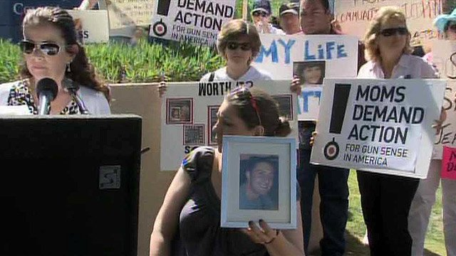 Mary Teves, left, and Jennifer Longdon were among those demanding a meeting with Sen. Jeff Flake, R-AZ, over his vote against gun control legislation. (Source: CBS 5 News)
