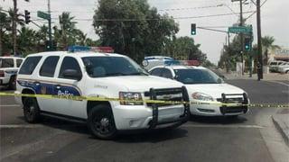 Hit-and-run scene at 37th Avenue & Camelback Road. (Source: Christina Batson, cbs5az.com)
